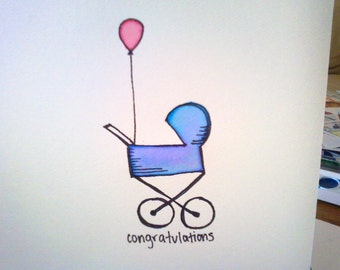 Baby Shower, Congratulations, New Arrival Watercolor Occasion Card