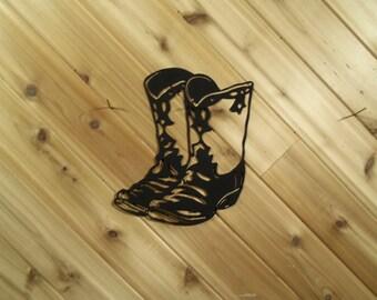 Cowboy Boots - Black - Metal- Western - Fancy - Metal Wall Art - By PrecisionCut