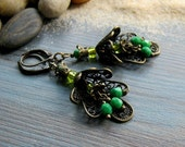 Ethnic bronze and green glass beaded earrings with damask metal filigree - Moroccan inspired hippie boho