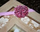 Pink Leopard, Shabby Chic, Elastic Headband, Infant Headband, Girl Headband, Photo Prop