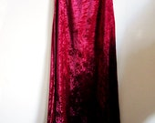 GOTH Maxi VELOUR velvet skirt with LACE trim / punk / hippy / indie