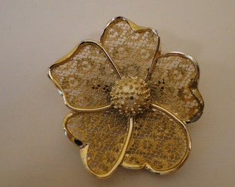 Vintage golden lace flower pin