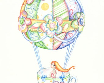"""I'll Take My Tea Cup Anywhere no.2 10.7"""" x 14.1""""  Limited Edition Giclee Print"""