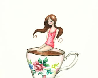 "I'll Take My Tea Cup Anywhere no.3 10.7"" x 14.1""  Limited Edition Giclee Print"