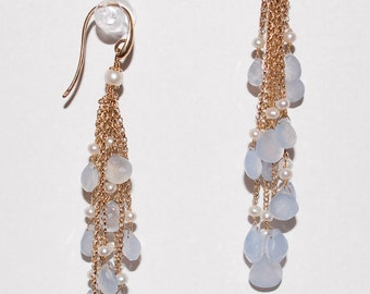 Blue Chalcedony Earrings in Sterling Silver