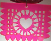 Papel Picado Laser Cut Necklace- Pink With Ribbon