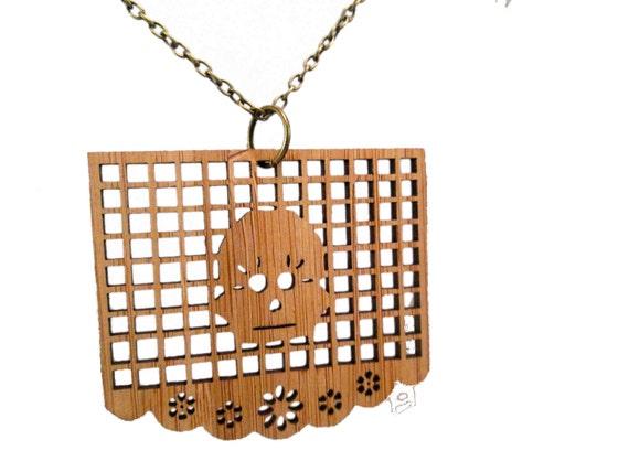 Papel Picado Necklace- Bamboo Skull