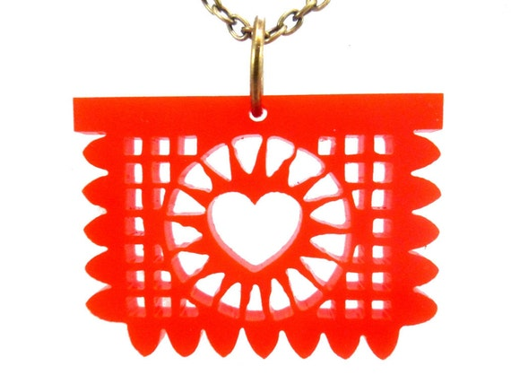 Papel Picado Laser Cut Necklace- Red with Bronze Chain