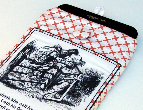 Kindle cover.  Kindle Paperwhite sleeve, Nexus 7 Sleeve, Kobo Glo case, Nook cover, Alice in Wonderland, padded sleeve, 7 in tablet cover