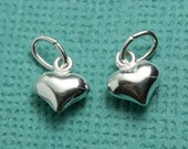 Silver filled puffed heart charm, teeny tiny, sweet accent to your designs- exactly the same as the sterling hearts, but CHEAPER