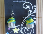 Handmade polymer clay cupcake earrings