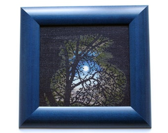 Cross Stitch Picture, Full Moon Night, Woodland Style, Fall Art, Framed Picture, Handmade Cross Stitch, For Home, Gift Ideas