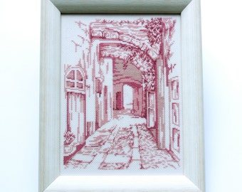 Cross Stitch Picture, Old Town Art, Monochrome Pink,  Pink Art, Cottage Chic, Handmade Cross Stitch, For Home, Home Decor