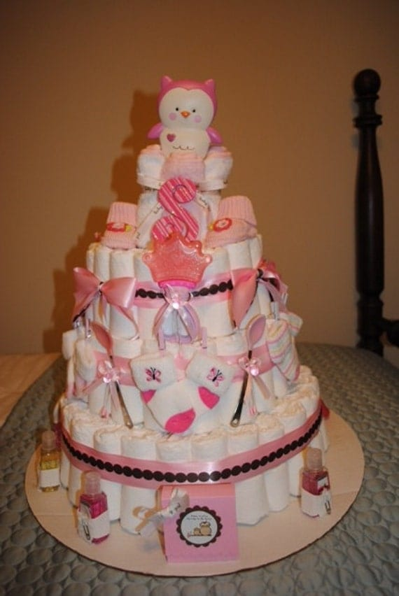 Items Similar To 4 Tier Baby Girl Owl Diaper Cake On Etsy