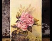 Vintage petite floral rose painting