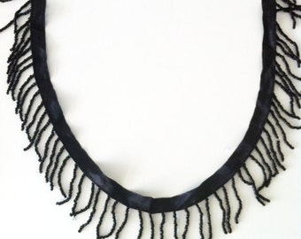 Tassels Beaded Ribbon in Black - 63 cm - you can get longer upon request.