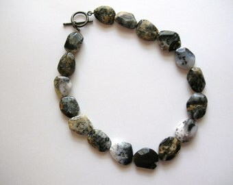 Black and Grey Agate Chunk Necklace