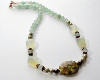 Citrine, Jasper and Pearl Beaded Necklace