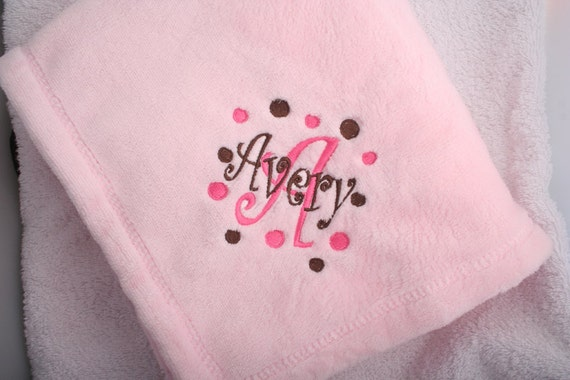 Personalized Monogrammed Baby Blanket- 6 colors- Boy or Girl