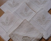 Seven vintage cotton danish embroidery handkerchiefs