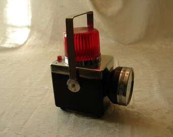 Redspot No 66 Flashlight from the 50-60's Old Retro with red safety lighted top. WORKs Kinda