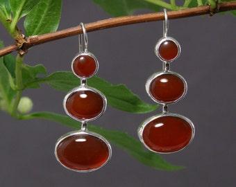 Red Carnelian and Sterling Silver Chandelier Earrings