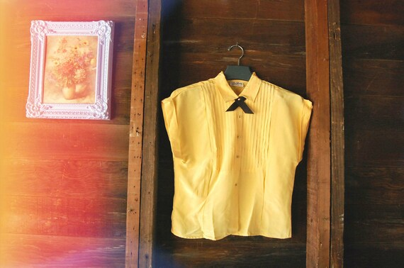 reserved for Marjorie // 1950s Mustard Yellow Blouse