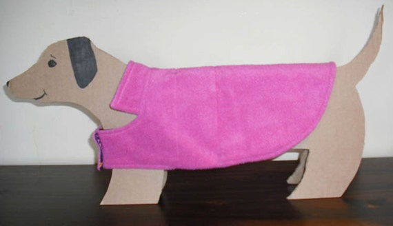 Raspberry Pink Mini Dachshund Fleece Dog Coat with peace, stars & hearts cotton lining. Cozy, Warm and Cute.