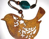 ANTIQUE RUSTIC Style Hanging BIRD with Teal Green Beads and Bell