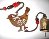 ANTIQUE RUSTIC Style Hanging BIRD with  Red  Beads and Cow Bell