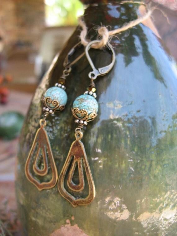 Vintage Dangles Earrings, Unique Vintage, African Turquoise, Brass, Swarovski Crystal, Filigree Caps