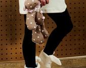 Handmade cream bunny slippers Women