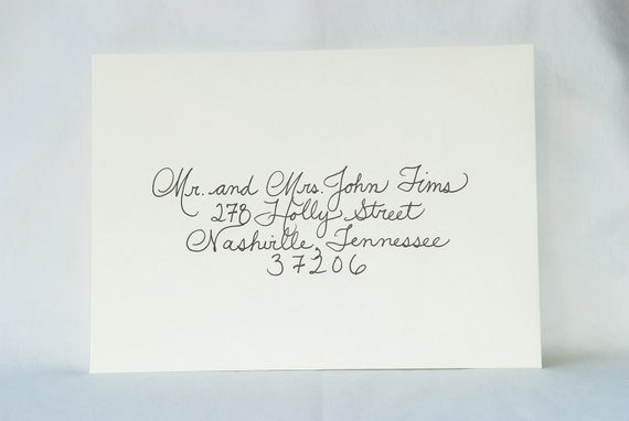 When Do You Send Invitations For Wedding: Custom Wedding Calligraphy For Invitation Envelope Addressing
