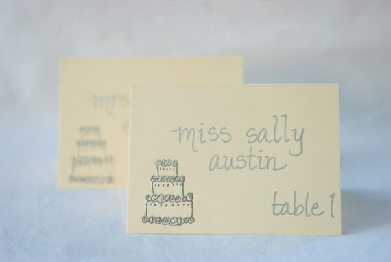 Custom Handwritten Wedding Calligraphy and Heat Embossing for Place Cards or Escort Cards