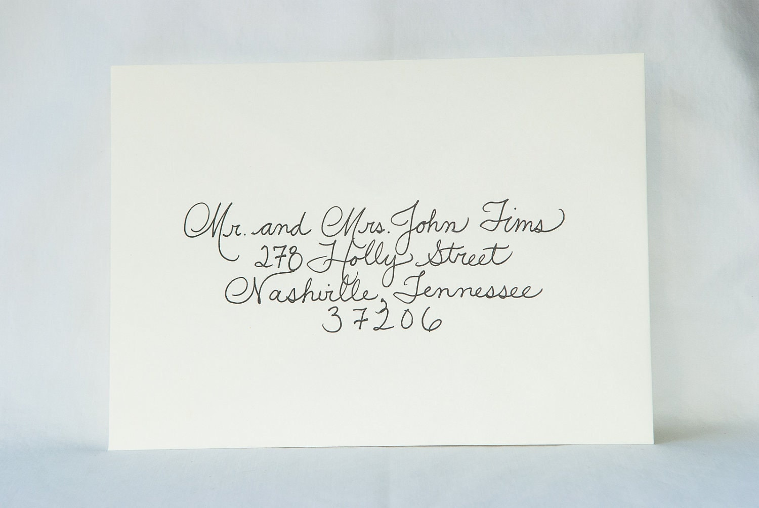 Custom wedding calligraphy for invitation envelope addressing for Examples of wedding invitation envelopes