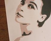 Papercut Art Print of Leslie Caron- 50's 60's French -Original Hand-Cut Illustration- 8.5 x 11 Archival Gloss Print