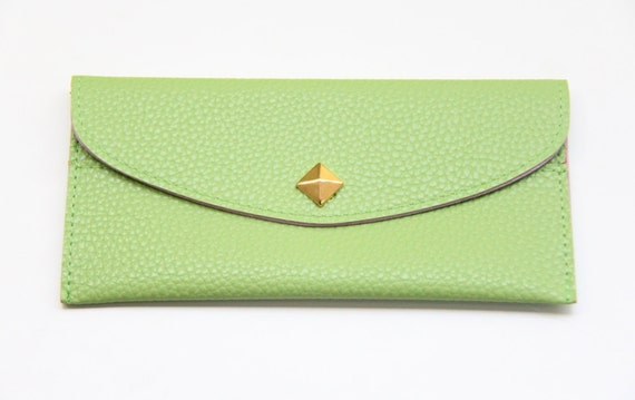 Pale Green Leather wallet with golden pyramid