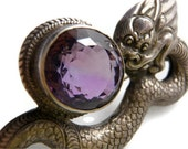Sterling Silver Amethyst Brooch, Lucky Dragon Purple Gemstone February Birthstone Sg'd Siam Sterling