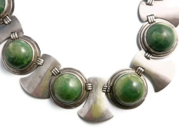 Vintage Necklace Taxco Mexico Sterling Silver and Cabachon Agate Designer Jewellery 17 sections
