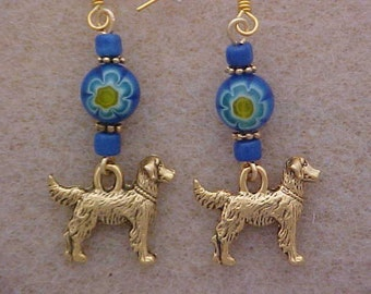 Retriever Dog Earrings with Blue Millifiori Beads