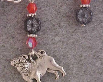 Very Cute Pug Dog Charm Bracelet with Dark Gray Flower and Red Beads