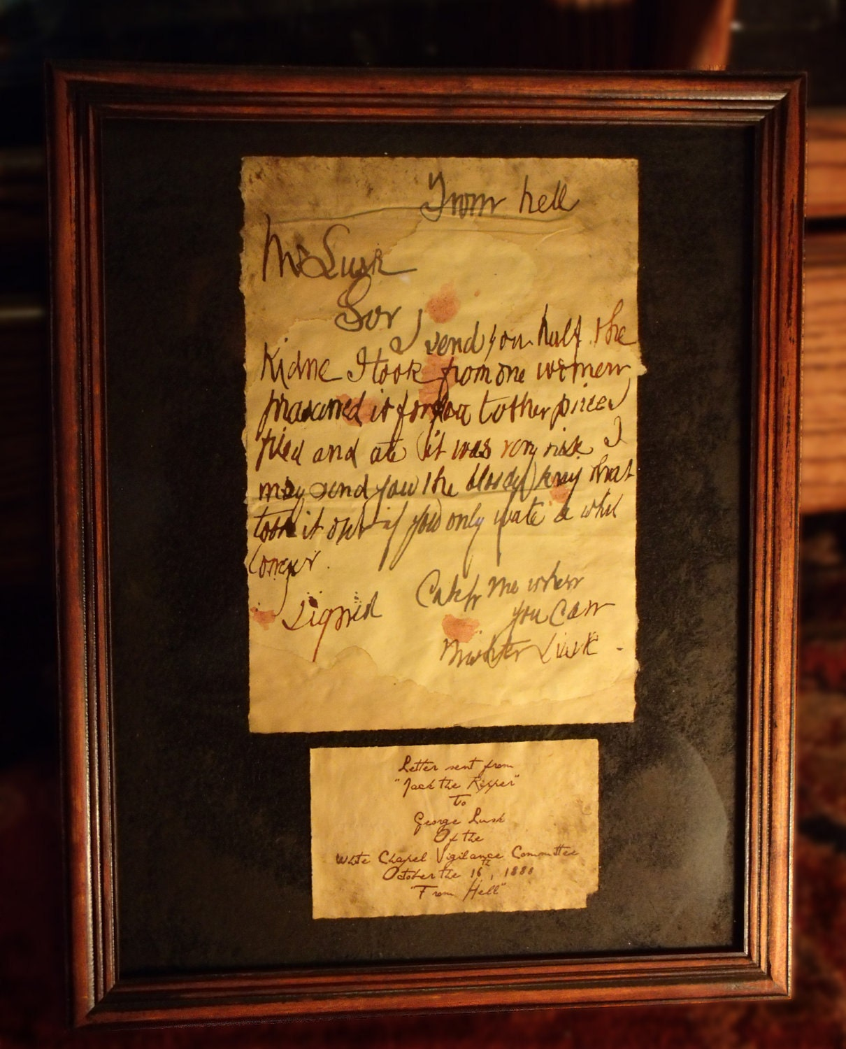 Jack the Ripper From Hell Letter framed. by TheRagNBoneEmporium