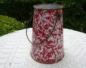 antique french country red and white enamel milk can