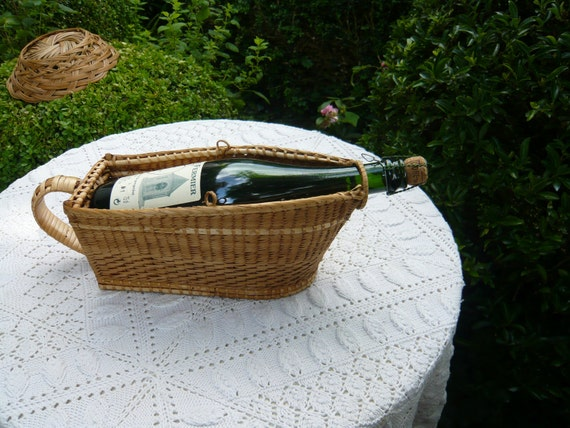antique french water willow wine bottle basket.