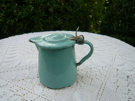 antique french country blue enamel can with cover