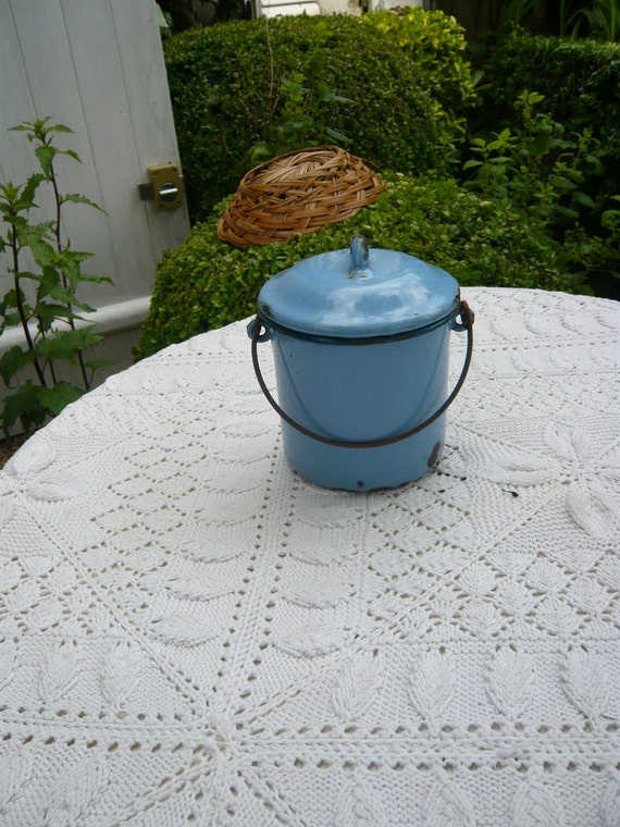 antique french country blue enamel can or lunch pail with cover and handle