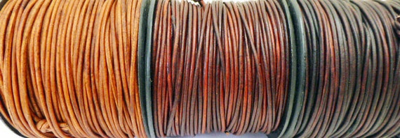 9 Yards Total of 3 shades of Distressed Brown 1.5mm Genuine Leather Cording for Leather Wrap Bracelets  3 yards of each color
