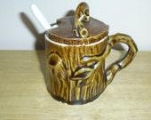 vintage ceramic woodland sugar bowl, jam server