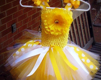 Little miss sunshine yellow & white tutu dress