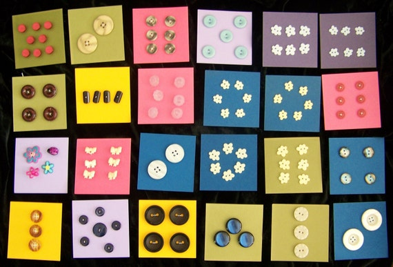 Tiny Buttons, Large Buttons, Vintage Buttons, Flower Buttons, Toggle Buttons and More- Pick four cards for one price